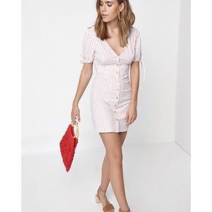 LA Hearts ButtonFront Dress Red Striped V Neck